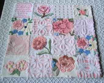 "Custom Made Heirloom Quality  ""Rose Garden"" -Vintage Chenille Baby ""Blankie"" for Baby"