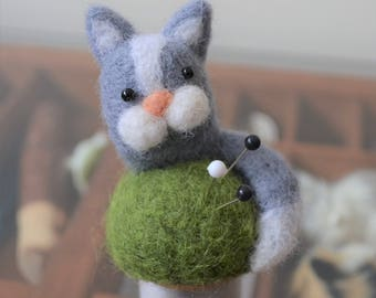 Tiny Cat pincushion on a vintage spool, needle felted sculpture