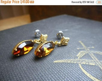 SALE Madame Lalaurie. Golden Fluer-de-lis post earrings & dangling amber whiskey glass marquise shape drops Romantic Georgian Era Period Ear