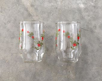 red rosebud vintage juice glass set - 1211477