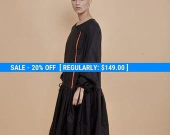NEW! black dress - pleated dress - shirt dress - long sleeve dress- knee length dress - midi dress - cotton dress - oversized dresses