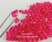 Hot Pink Teardrop Briolettes 30pcs Beads Czech Glass Beads 6mm x 9 mm