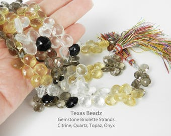 Multi Color Gemstone Briolette Bead Strands Faceted Puffed Teardrop Beads Citrine Quartz Topaz Onyx
