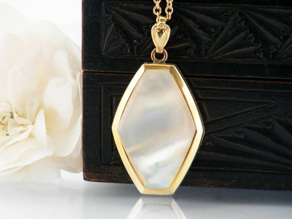 Vintage Locket | Mother of Pearl Gold Filled Locket | Hexagonal Double Photo Locket | 1940s Vintage Locket - 34 Inch Long Chain Included
