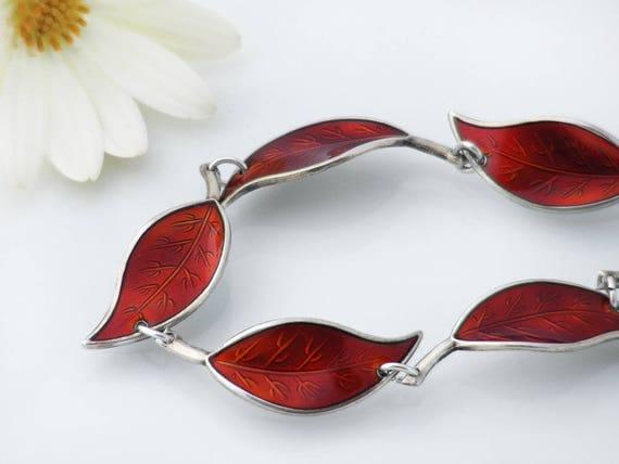 Vintage Leaf Bracelet | Red Enamel David Andersen Bracelet | Crimson Red Enamel & Sterling Silver | Scandinavian Mid Century Modern - 7 Inch