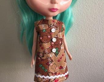Sparkling gingerbread cookie holiday Mod Shift Dress for Blythe