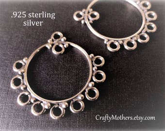 Take 15% off with 15OFF20, 1 PAIR Bali Hoop Circle Fancy Chandelier Findings, 27mm x 27mm (2 pcs) - CHOOSE Oxidized Sterling or Gold Vermeil