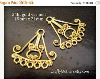 7% off SHOP SALE 1 Pair Bali Chandelier Findings, 19mm x 21mm, CHOOSE 24kt Gold Vermeil or Sterling Silver (oxidized) - Flat Rate Shipping