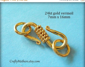 8% off SHOP-WIDE, 2 sets, Bali 24kt Gold Vermeil S-Hook Rope Design Clasps, 7mm x 16mm, Artisan-made jewelry supply, precious metal
