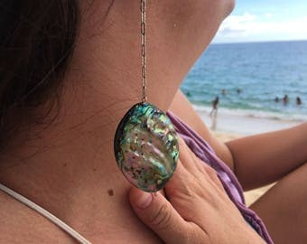 Abalone mermaid drop earrings