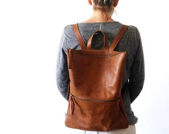 OnSALE Backpack ,brown leather, Laptop bag