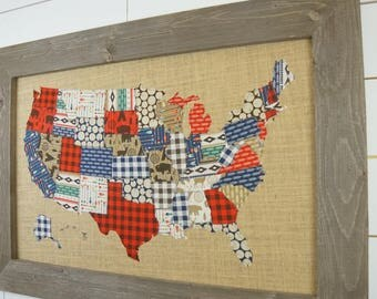 United States Map, Fabric Map, US Map, High Adventure Fabric, Wall hanging, Buffalo plaid, Masculine Home Decor, Kids Room, Cabin Decor,
