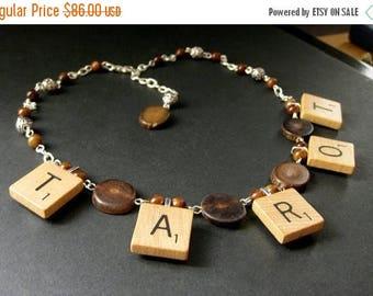 BACK to SCHOOL SALE Tarot Necklace. Scrabble Tile Necklace. Petrified Wood Necklace. Beaded Necklace. Scrabble Necklace. Handmade Necklace.