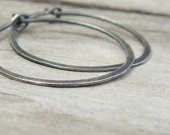 Custom Order For Sybille - 2 Pairs Of Oxidized Sterling Silver Hoops