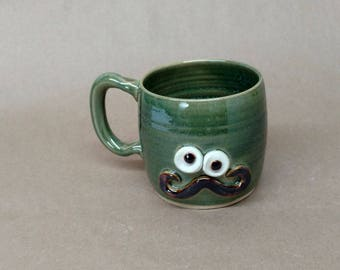 Sophistiated Mans Handlebar Mustache Mugs. Large 16 Ounces Ironic Teacup. Frosty Green. Mustache Love Mug. Fun Funky Pottery Coffee Cups.