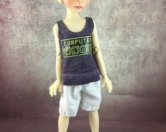 Computer Club tank top and board shorts for Maurice by Kaye Wiggs MSD BJD Boys