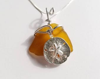 Amber Brown Sea Glass Necklace handmade with sterling Sand Dollar with aluminum bale