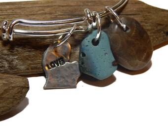 Michigan Charm, Bangle, Petoskey Stone bracelet, Leland Blue,  upnorth Lake Michigan polished stones Lake Treasures
