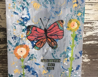 "Journal with original whimsical art on the cover, 5.9"" x 7.8"", 128 pages of blank paper, butterfly, inspirational journal"