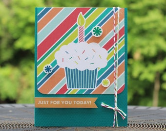 Cupcake Happy Birthday Handmade Greeting Card Generic Birthday Card birthday card for kids happy birthday greetings Just for you today!