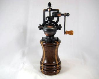 Pepper Mill Antique Style Handmade Black Walnut and Laminated Birch Wood Cooper Mechasim
