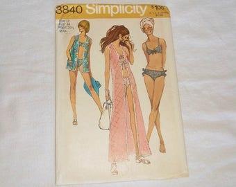 UNCUT Vintage 1970 Simplicity Beach Wear Pattern 8840 • Cover-Up & Bikini • Factory Folded