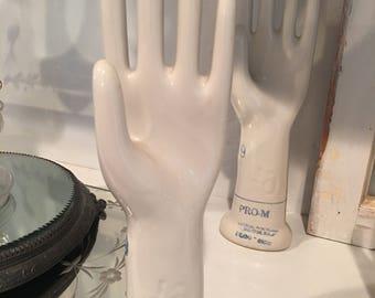 Vintage Porcelain Hand Glove Mold ~ Pro M General Porcelain Trenton NJ ~ Ring Holder ~ Home Decor ~ Size 6 1/2 ~ Old White Hand