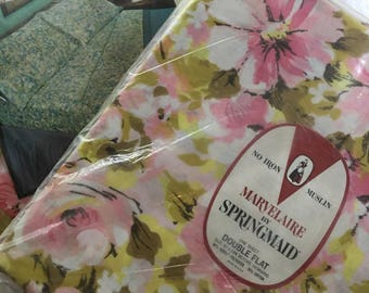 Vintage Springmaid Marvelaire Sheets ~ Pink Floral Double Size Flat and Fitted Sheets ~ Moon Flower Pattern ~ NOS ~ Vintage Bedding