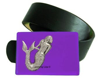 Mermaid Belt Buckle Inlaid in Hand Painted Purple Enamel Belt Buckle for Snap Belts Nautical Buckle with Custom Colors Available