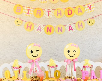 Emoji Party, Emoji Birthday, Emoji Banner, Happy Birthday Banner, Emojis, Smiley Face,