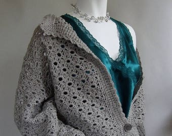 ON SALE Crochet Cardigan, Gray Cardigan, Wool Cardigan, Cardigan Women, Crocheted Cardigans, Cardigan Sweaters, Gift for Her, Available in X