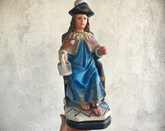 Chalkware Statue Holy Infant of Atocha Missing Staff, Religious Decor, Infant Jesus Statue, Catholic Gifts Easter, Santo Nino Atocha Statue