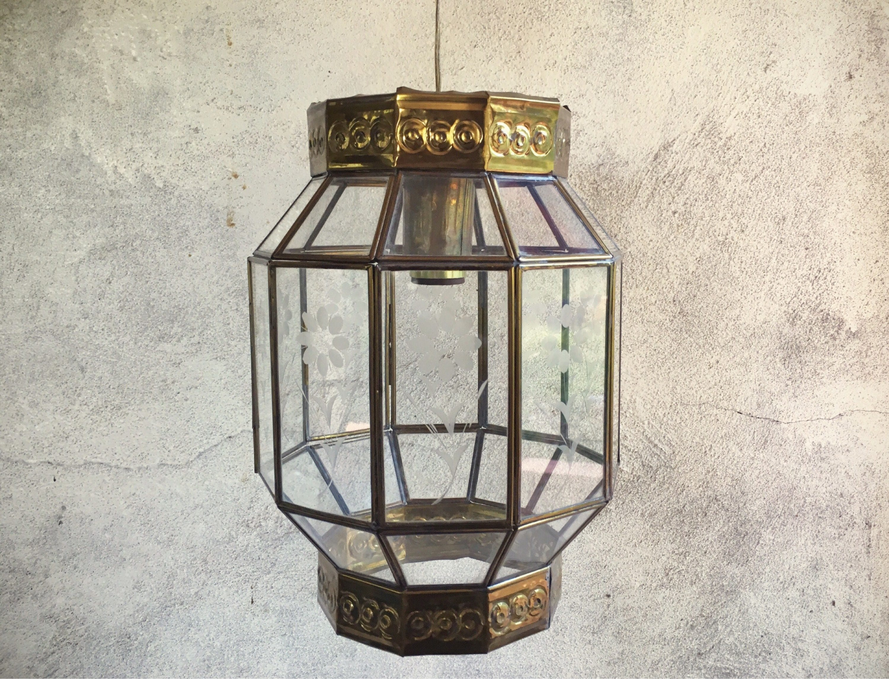 Vintage mexican etched glass brass hanging lamp bohemian decor vintage mexican etched glass brass hanging lamp bohemian decor pendant light fixture pendant lighting mexican chandelier hanging lights arubaitofo Image collections