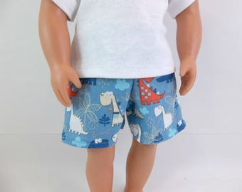 "Swimsuit or Shorts for 18"" Boy Doll Blue Dinosaur Print Fits American Girl Doll"