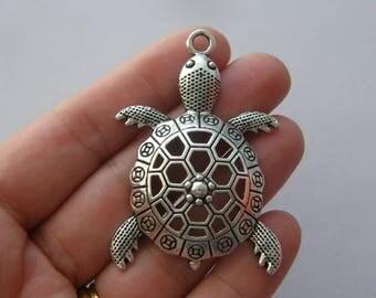 2 Turtle pendants antique silver tone FF344