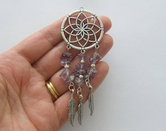 1 Dream catcher purple stones charm antique silver tone M872