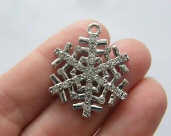 2 Rhinestone snowflake charms silver tone CT231