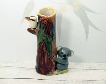 Ceramic kookaburra & koala bud vase one of a kind hand sculpted Anita Reay AnitaReayArt bear figurine