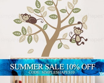 Vinyl Wall Art Decal Sticker - Tree with Monkeys - Kids