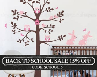 Tree wall decal with animals - Owl Rabbit Bird Tree Wall Decal - Shelving tree decal - wall decal - baby nursery decal