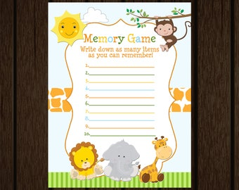 Jungle Safari Baby Shower, Jungle Safari Memory Game, Baby Shower Printable