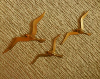 Beautiful Brass Sea Gull Wall Decor Set