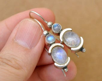 VINTAGE FIND, sterling silver eye catching natural rainbow moonstone earrings, long danglers