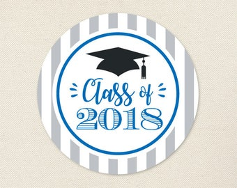 Graduation Stickers (Class of 2018) - Choose Your Own Colors - Sheet of 12 or 24