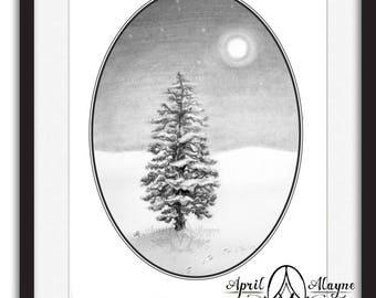 Bunny tracks-rabbit-tracks- Black and white-forest -pine tree- moon- Christmas tree- full moon- winter- art- April Alayne