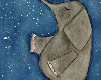 Elephant, original watercolor, children's art, nursery art, blue and grey, stars, night, sky, whimsical, large art, elephant and stars