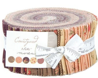 """ON SALE Courtyard Jelly Roll by 3 Sisters for Moda Fabrics 44120JR 40 2.5"""" x 42"""" Fabric Strips"""