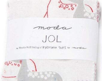 """ON SALE JOL Mini 2.5"""" Charm Pack by Wenche Wolff Hatling for Moda Fabrics 39700Mc 42 2.5"""" Fabric Squares"""