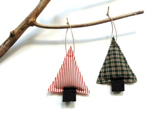 Balsam pine tree sachet, pine cinnamon sachet ornaments, scented sachets, scented ornaments, tree trimming, Christmas Balsam fir pine