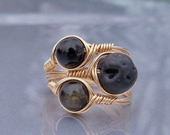 25% Off Sale The Golden Trio Stackables 14k Wire Wrapped Rings Onyx Basalt Gold Sheen Obsidian